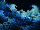 blue fractal waves background