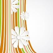 White flower on orange  waves.