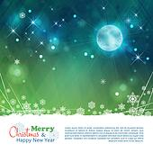 Christmas abstract moon stars vector background