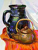 Still life with a tea pot and jug