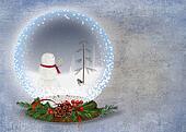 Christmas snowman in snow globe