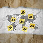 sticky note social network icon on crumpled paper background with tear recycle envelope as concept