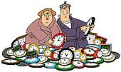 Husband & wife setting clocks