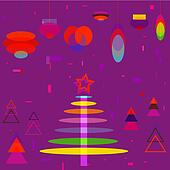 Abstract Christmas Tree with Decora