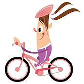 Cartoon girl with ponytail and helmet riding pink bike smiling