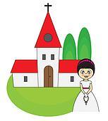 Girl first Communion Invitation Car
