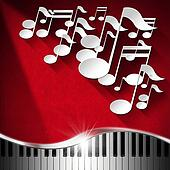 Music Piano and Note Background - Red Velvet