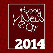 Happy New Year 2014 Red Halftone