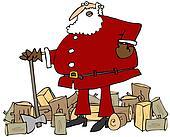 Santa splitting wood