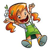 Happy cute cartoon orange hair girl jumping happily spreading arms and legs wearing  a green dress and flower