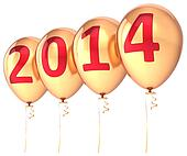 New Year 2014 balloons banner gold