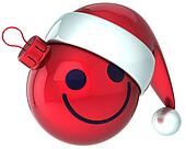 Smiley face Christmas ball Santa