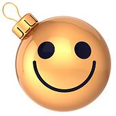 Christmas ball smiley face gold