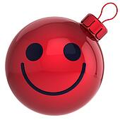 Smiley face Christmas ball red