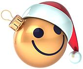 Christmas ball smiley face gold fun