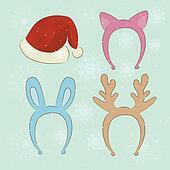 Merry Christmas carnival cartoon set