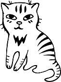 Vector. Tabby cat. Black outline sketch