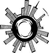 Vector illustration. City. Black outline sketch