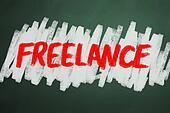 Freelance word on chalkboard backgruond