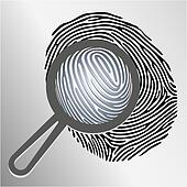 Vector magnifying glass examining fingerprint isolated