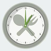 Vector isolated clock - lunch time concept