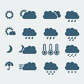 Vector isolated weather icons set
