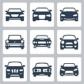 Vector isolated cars icons set