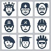 Vector profession icons set: king, doctor, scientist, trucker, repairman, builder, artist, graduating student, cyclist
