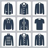Vector men's clothes icons set: puffer jacket, coat, windbreaker, hoodie, jogging jacket, T-shirt, sweater, suit jacket, shirt