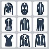 Vector women's clothes icons set: jacket, overcoat, down-padded coat, vest, sweatshirt, blouse, top, suit jacket, jumper