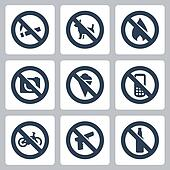 "Vector ""prohibitory signs"" icons set: no smoking, no dogs, no fire, no cameras, no icecream, no cell phones, no bicycles, no guns, no alcohol"