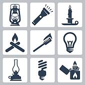 Vector light and lighting appliances icons set: lantern, flashlight, candle, bonfire, torch, bulb, hurricane lamp, energy saving bulb, lighter