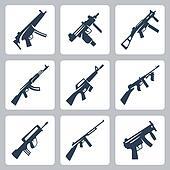 Vector machine guns and assault rifles icons set
