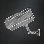 Privacy concept: Cctv Camera on chalkboard background
