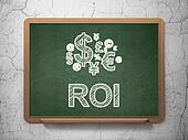 Finance concept: Finance Symbol icon and text ROI on Green chalkboard on grunge wall background, 3d render