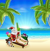 Santa Relaxing on Hot Sunny Beach