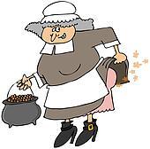 Pilgrim woman passing gas