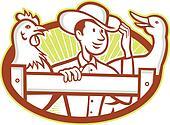 Farmer With Chicken Goose Cartoon