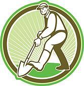 Gardener Landscaper Digging Shovel Circle