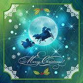 Santa Riding Sleigh in Christmas Night Background