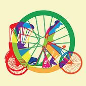 colorful Bicycle Taxi Silhouette Ve