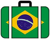 Suitcase with Brazil Flag