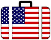 Suitcase with USA Flag