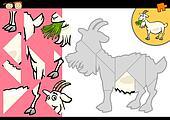 cartoon farm goat puzzle game