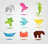 Set of color origami animals