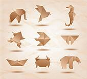Set of brown origami animals