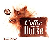 Watercolor coffee house badges.