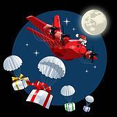 Vector Cartoon Christmas Cargo Airplane