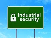 Safety concept: Industrial Security and Closed Padlock on road sign background