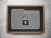 Finance concept: Folder With Lock on chalkboard background